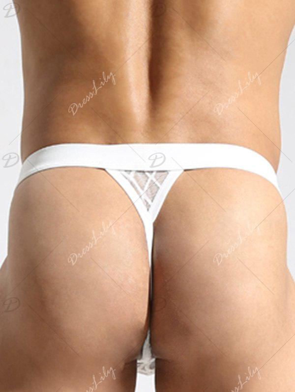 See-Through Mesh String Thongs - WHITE L