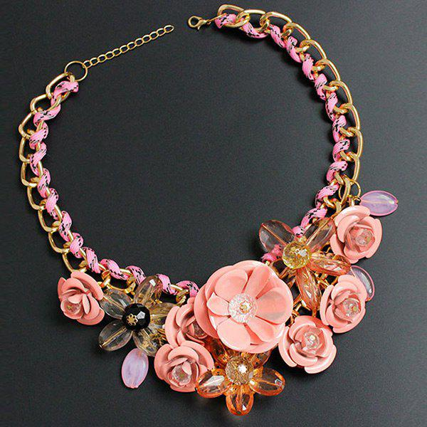 Chunky Statement Flower Necklace - PINK