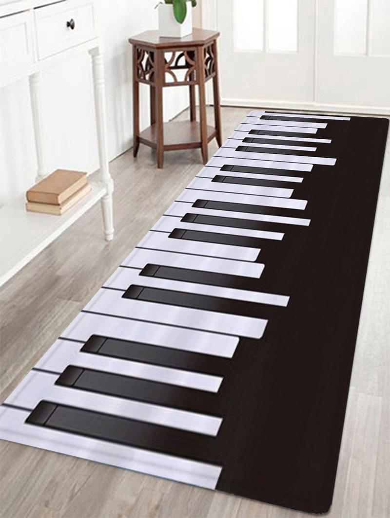 Piano Pattern Indoor Outdoor Area Rug - BLACK WHITE W16 INCH * L47 INCH