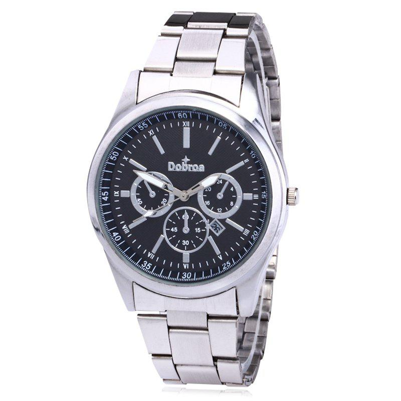 Alloy Strap Date Number Watch - BLACK / SILVER