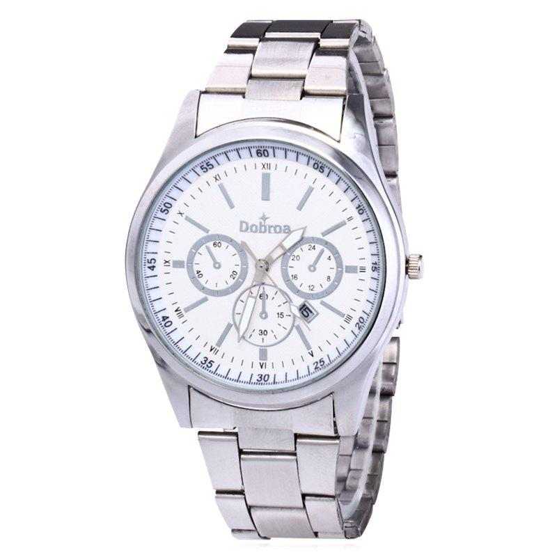 Alloy Strap Date Number Watch - SILVER WHITE