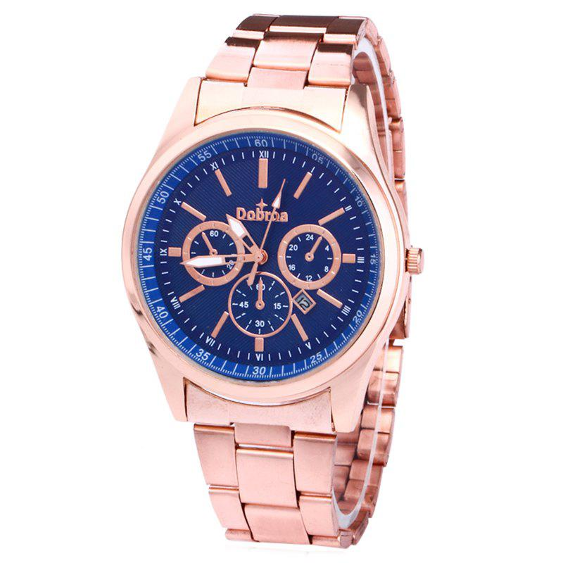 Alloy Strap Date Number Watch - BLUE