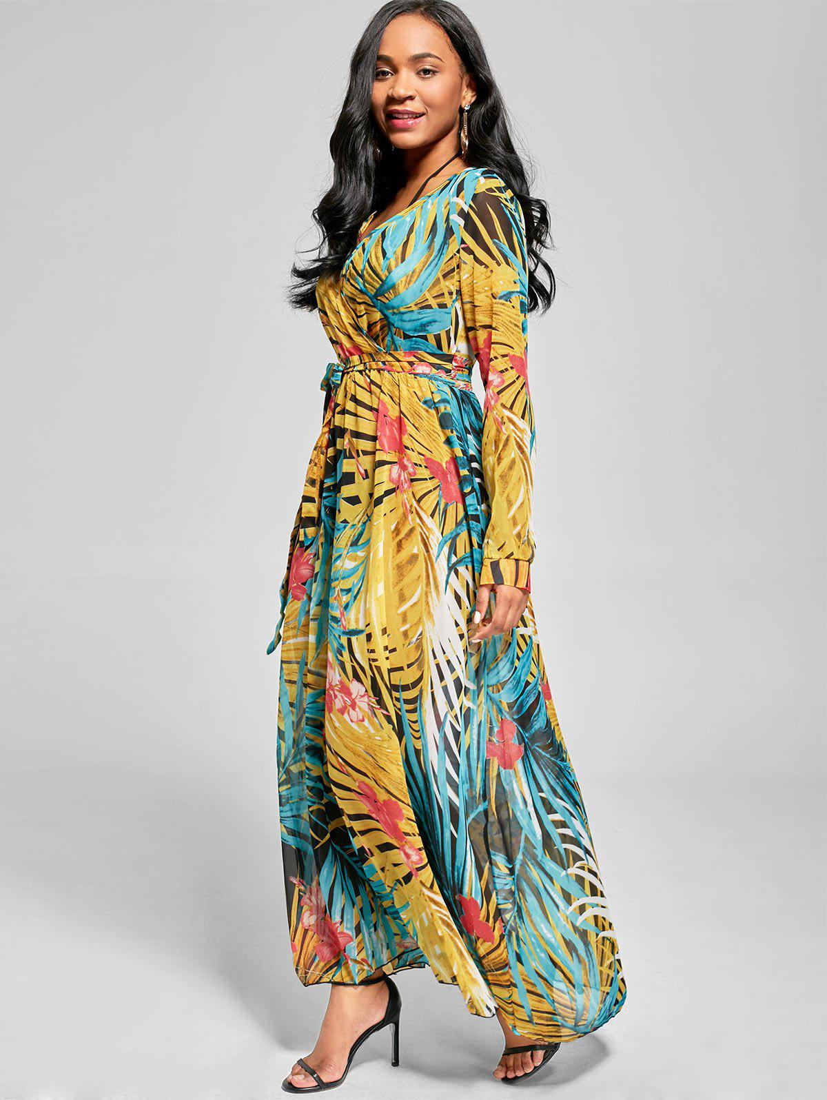Chiffon Long Sleeve Maxi Flowy Dress - BLUE S