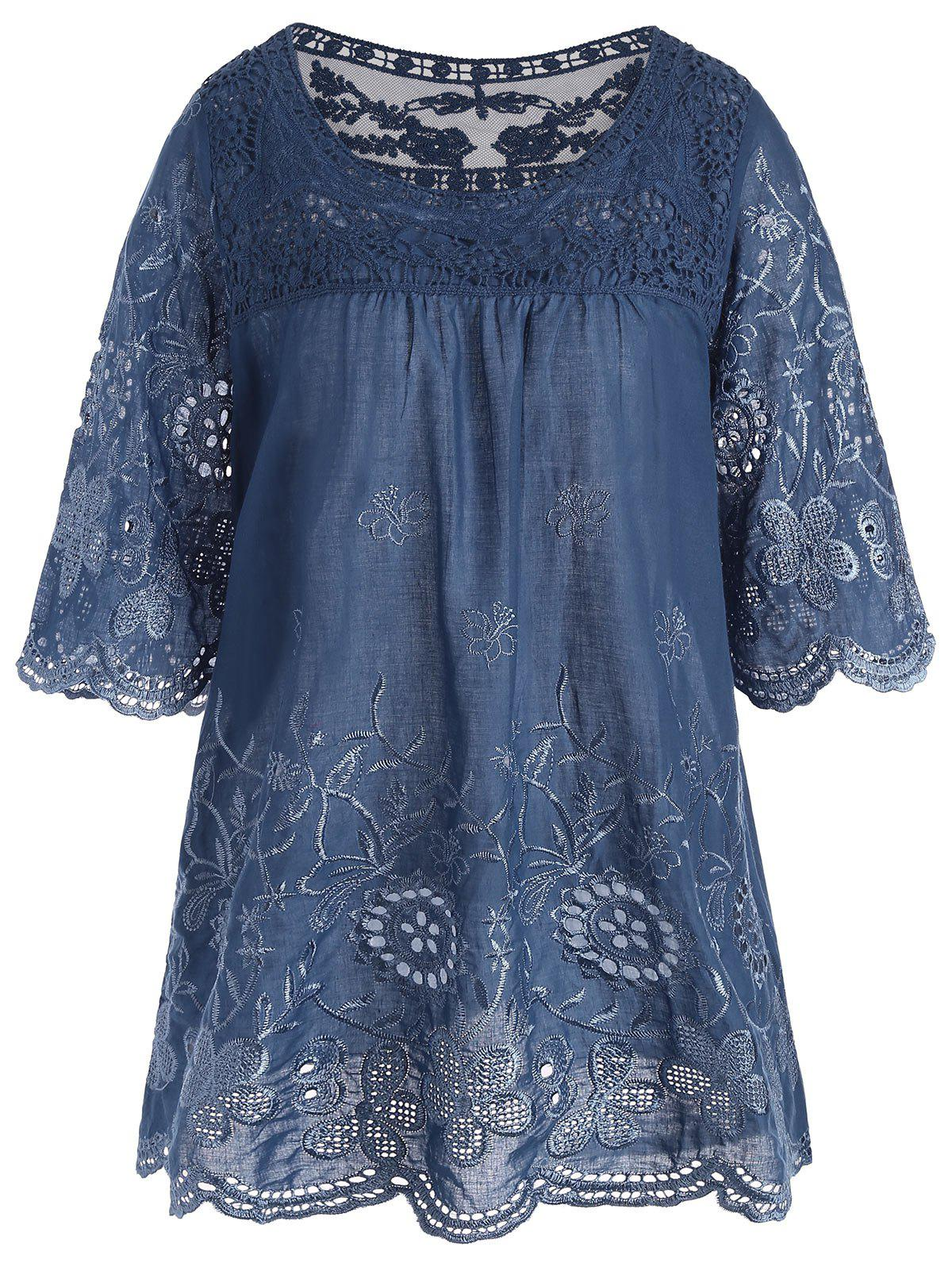 Embroidered Plus Size Long Top - BLUE 3XL