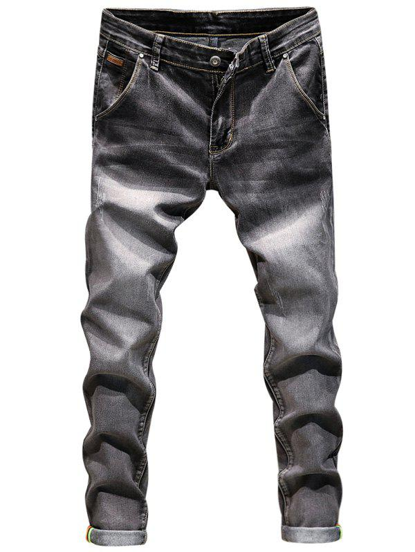 Ripped Zip Fly Skinny Cuffed Jeans frayed ripped zip fly cuffed jeans