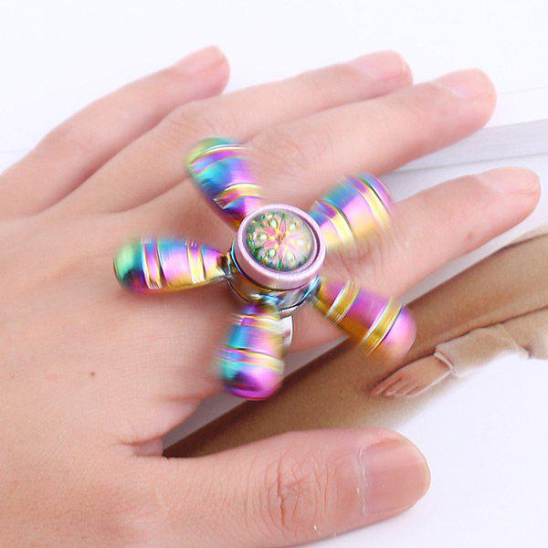 Star Flower Hand EDC Fidget Spinner Ring - multicolorcolore