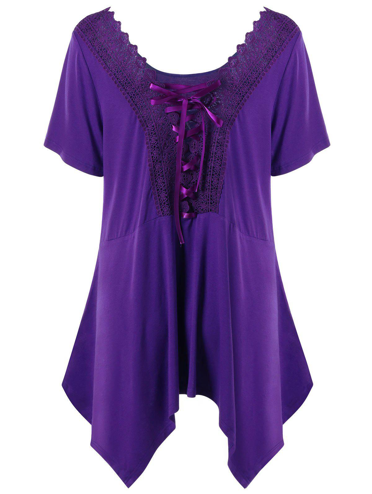 Plus Size Crochet Trim Lace Up T-shirt - PURPLE 5XL