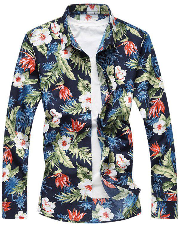 Image of Tropical Floral Print Casual Shirt