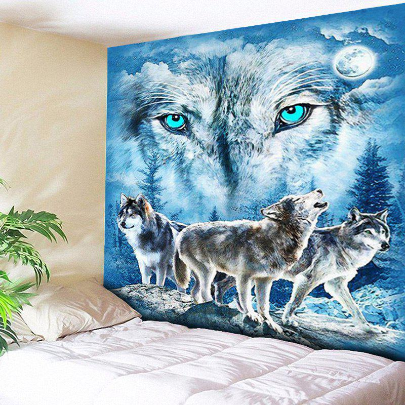 Wall Hanging Snowy Night Wolves Print Tapestry - BLUE W59 INCH * L59 INCH