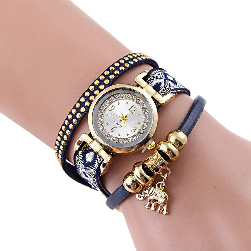 Elephant Rhinestone Number Strand Bracelet Watch - BLACK