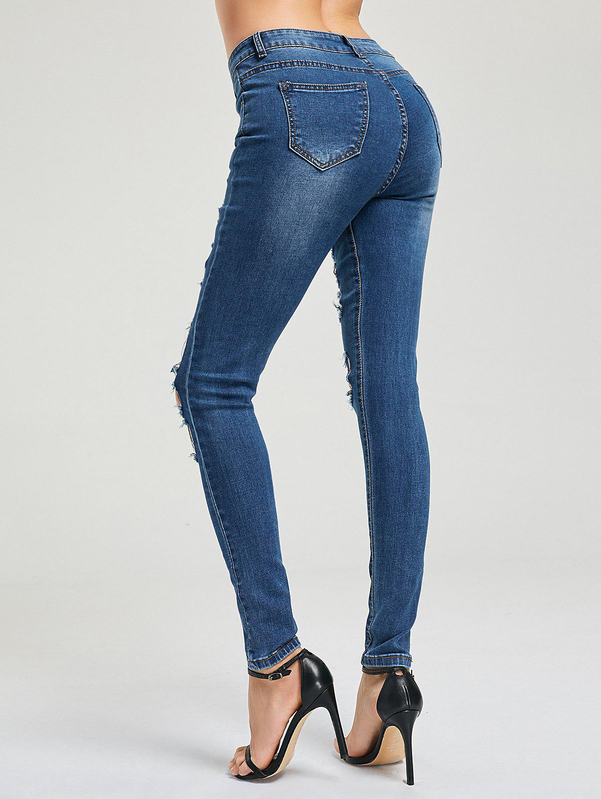 Cat's Whisker Ripped Jeans - BLUE XL