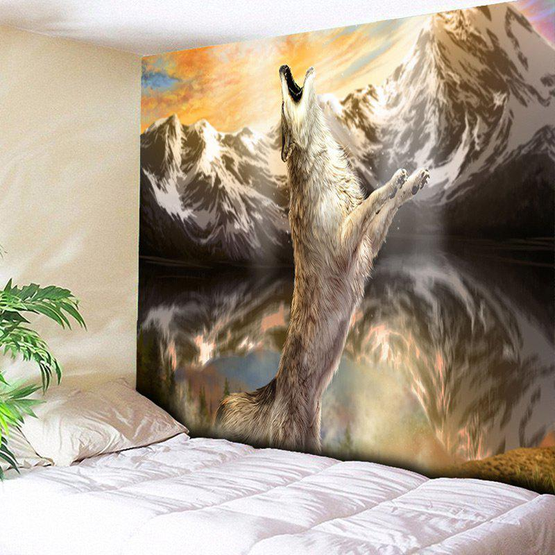 Wall Hanging Snow Mountain Roaring Wolf Print Tapestry - BROWN W59 INCH * L79 INCH