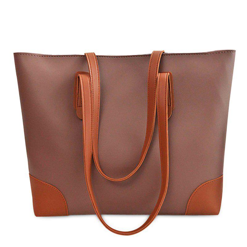 PU Leather Shopper Bag with Clutch Bag - COFFEE