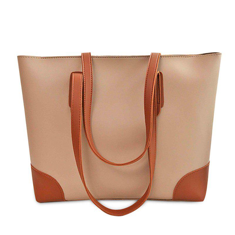 PU Leather Shopper Bag with Clutch Bag - APRICOT
