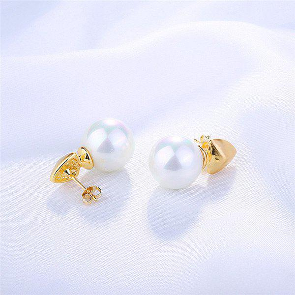 Faux Pearl Drop Tiny Earrings - GOLDEN
