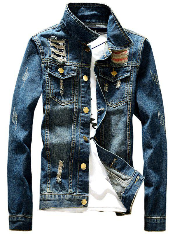 Destroyed Front Pocket Design Denim Jacket - DENIM BLUE 2XL