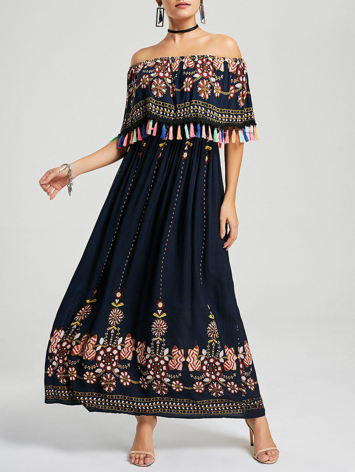 Tassel Off The Shoulder Boho Maxi Dress - PURPLISH BLUE M