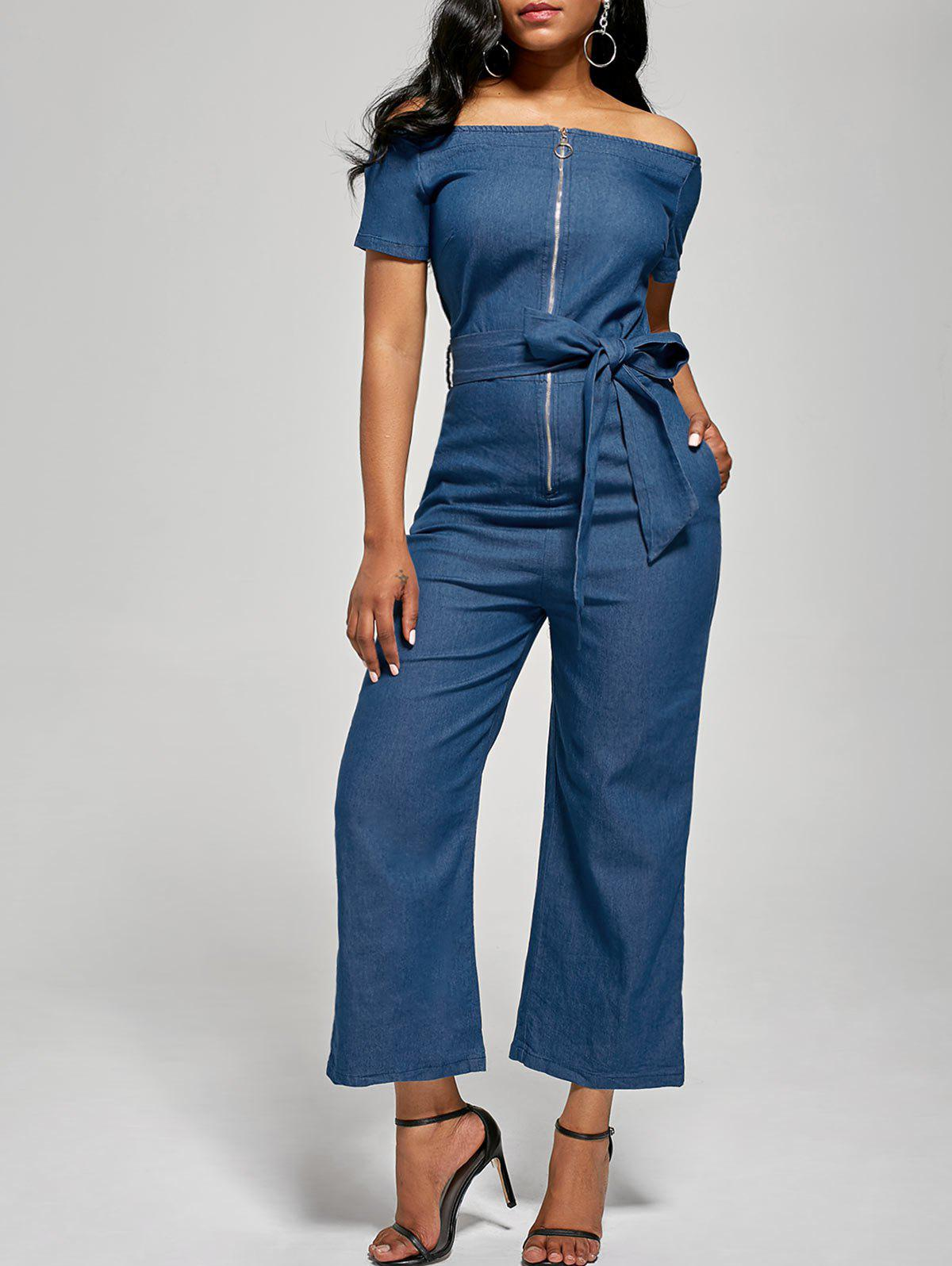 Off The Shoulder Denim Zippered Jumpsuit - DENIM BLUE L