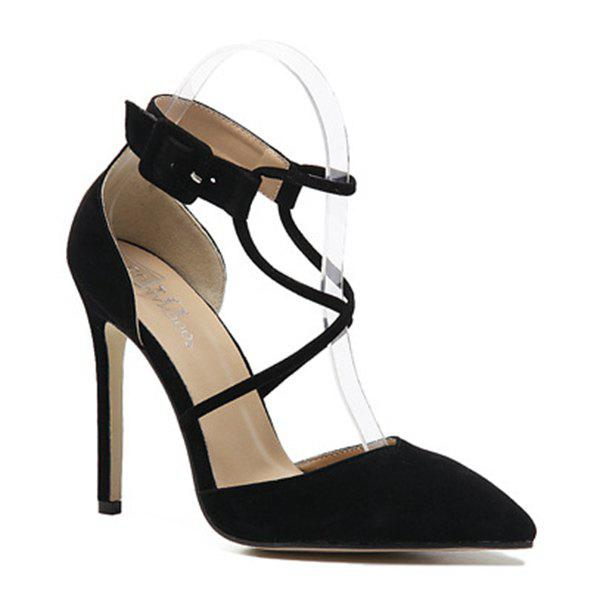 Suede Color Block High Heel Pumps - BLACK 38