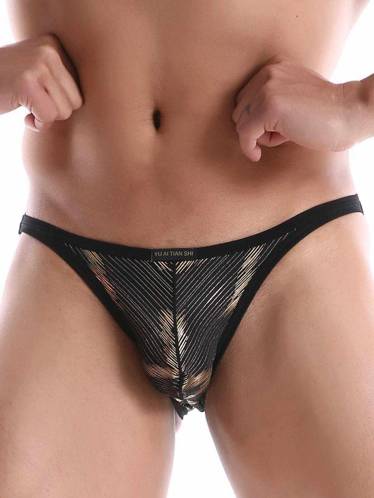 Dentelle en forme de vague Side Hasp String Briefs - Noir S