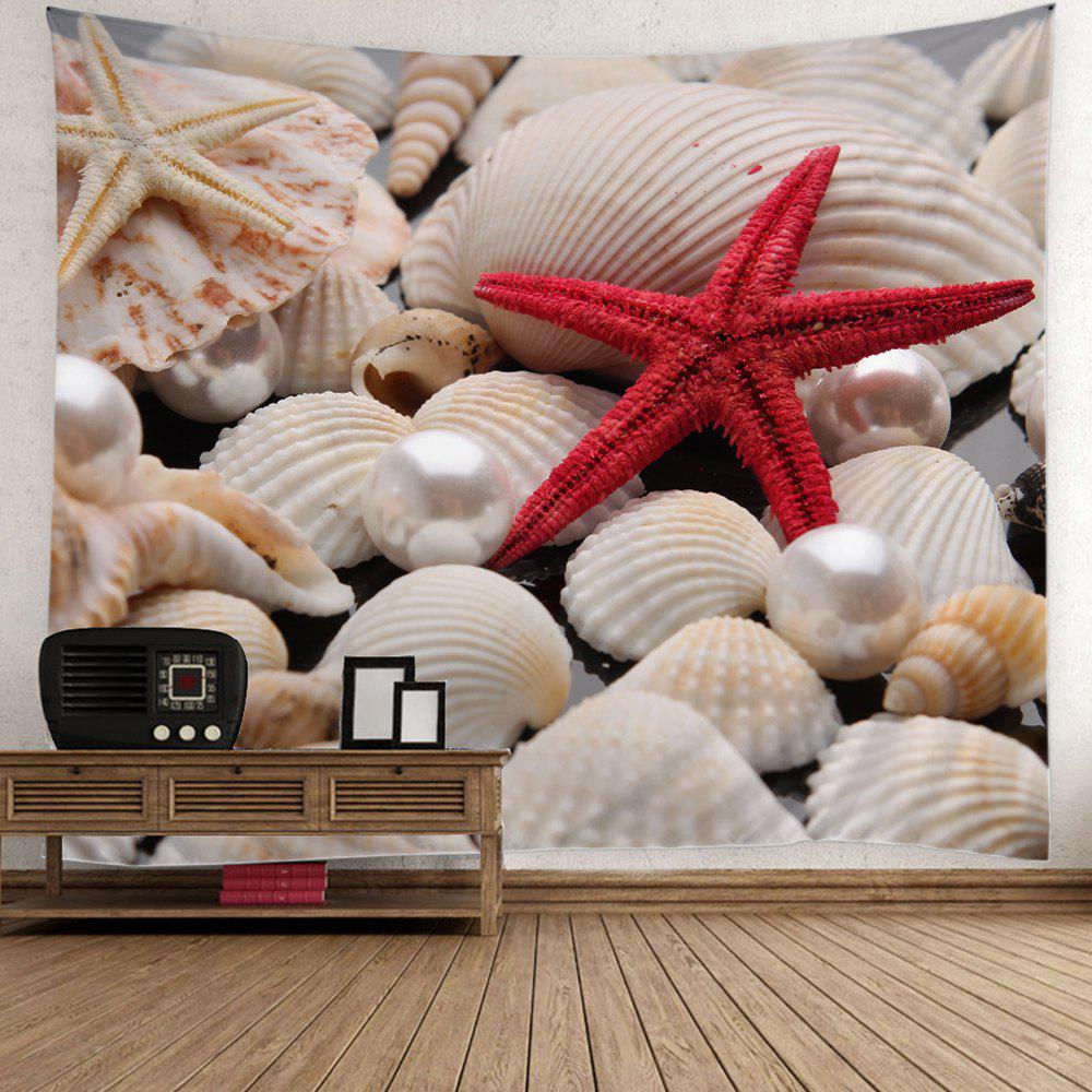 Pearl Starfish Sea Shell Print Wall Tapestry - COLORFUL W59 INCH * L59 INCH