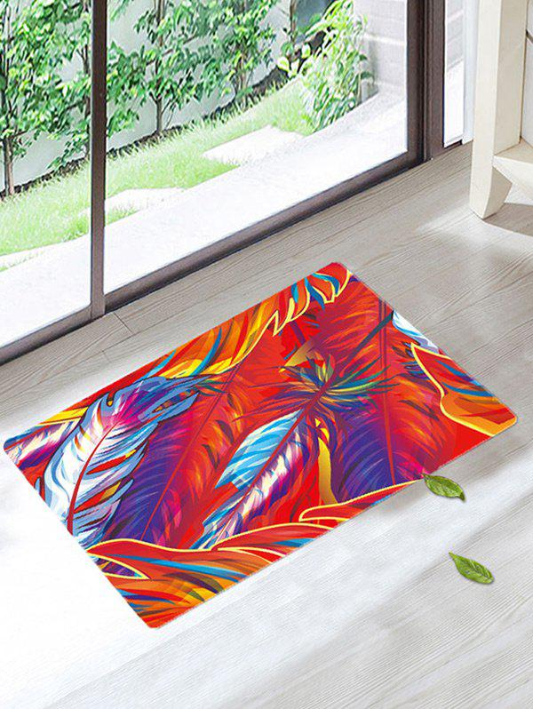 Non Slip Art Feather Bathroom Floor Rug - COLORMIX W20 INCH * L31.5 INCH