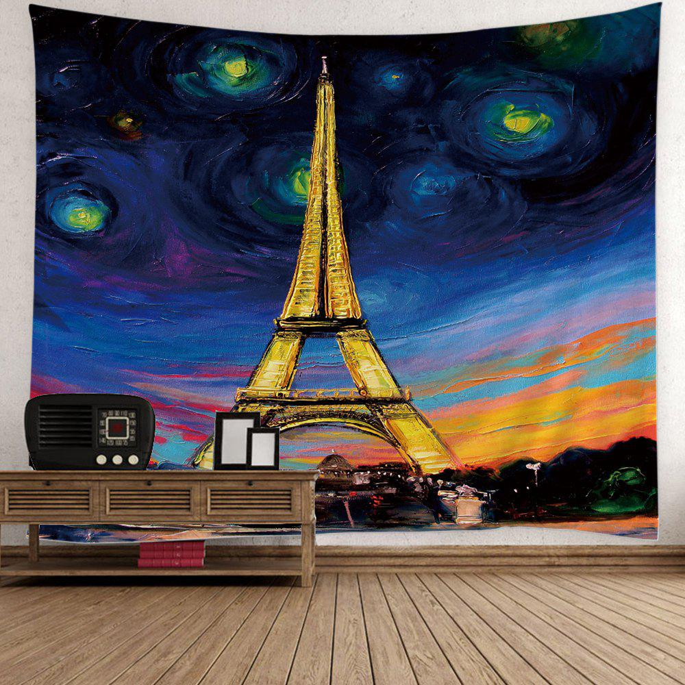 Oil Painting Eiffel Tower Wall Art Tapestry - COLORFUL W59 INCH * L51 INCH
