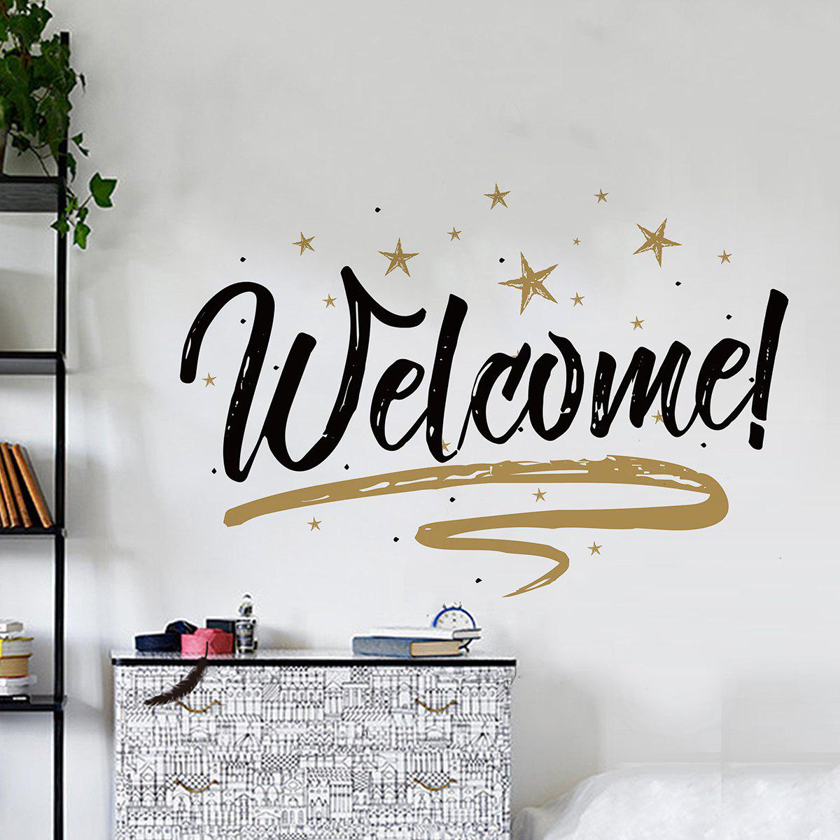Removable Welcome Letter Shop Door Wall Sticker - BLACK 57*38CM