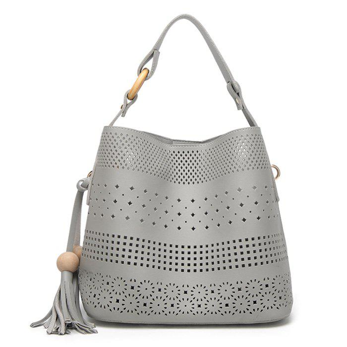 Hollow Out Tassel Tote Bag - GRAY