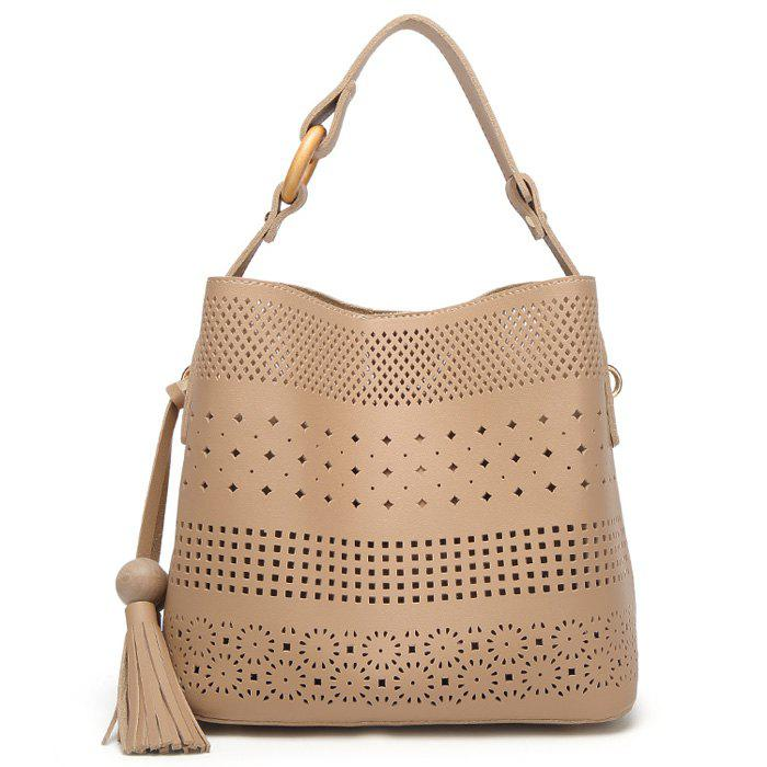 Hollow Out Tassel Tote Bag - APRICOT