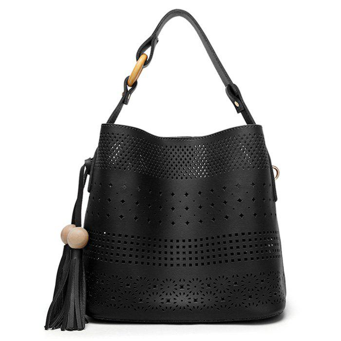 Hollow Out Tassel Tote Bag - BLACK