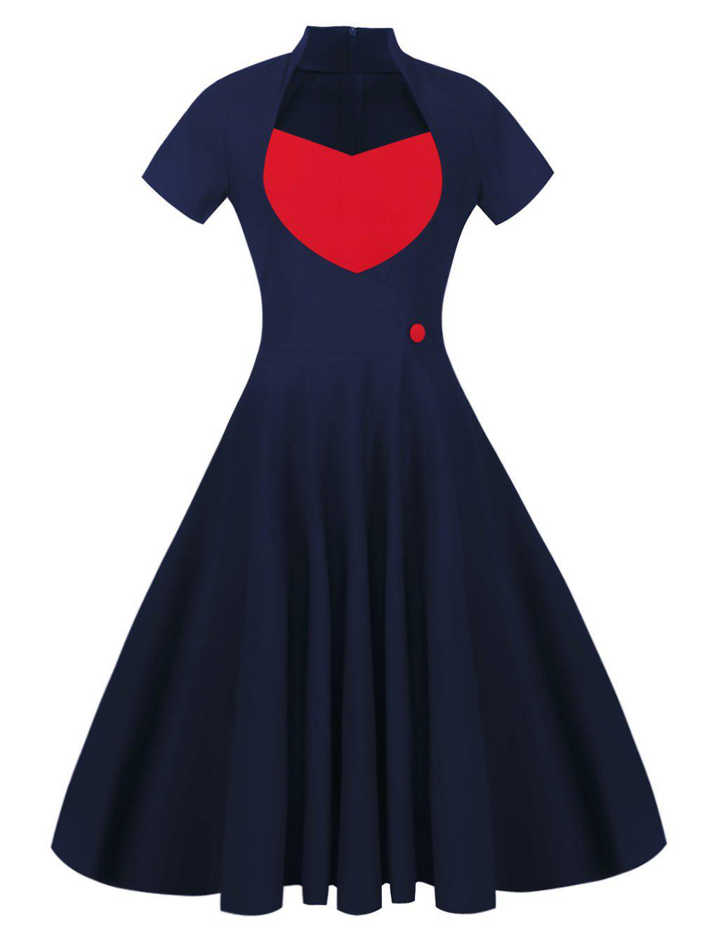 Sweetheart Front 50s Vintage Swing Dress - NAVY BLUE M