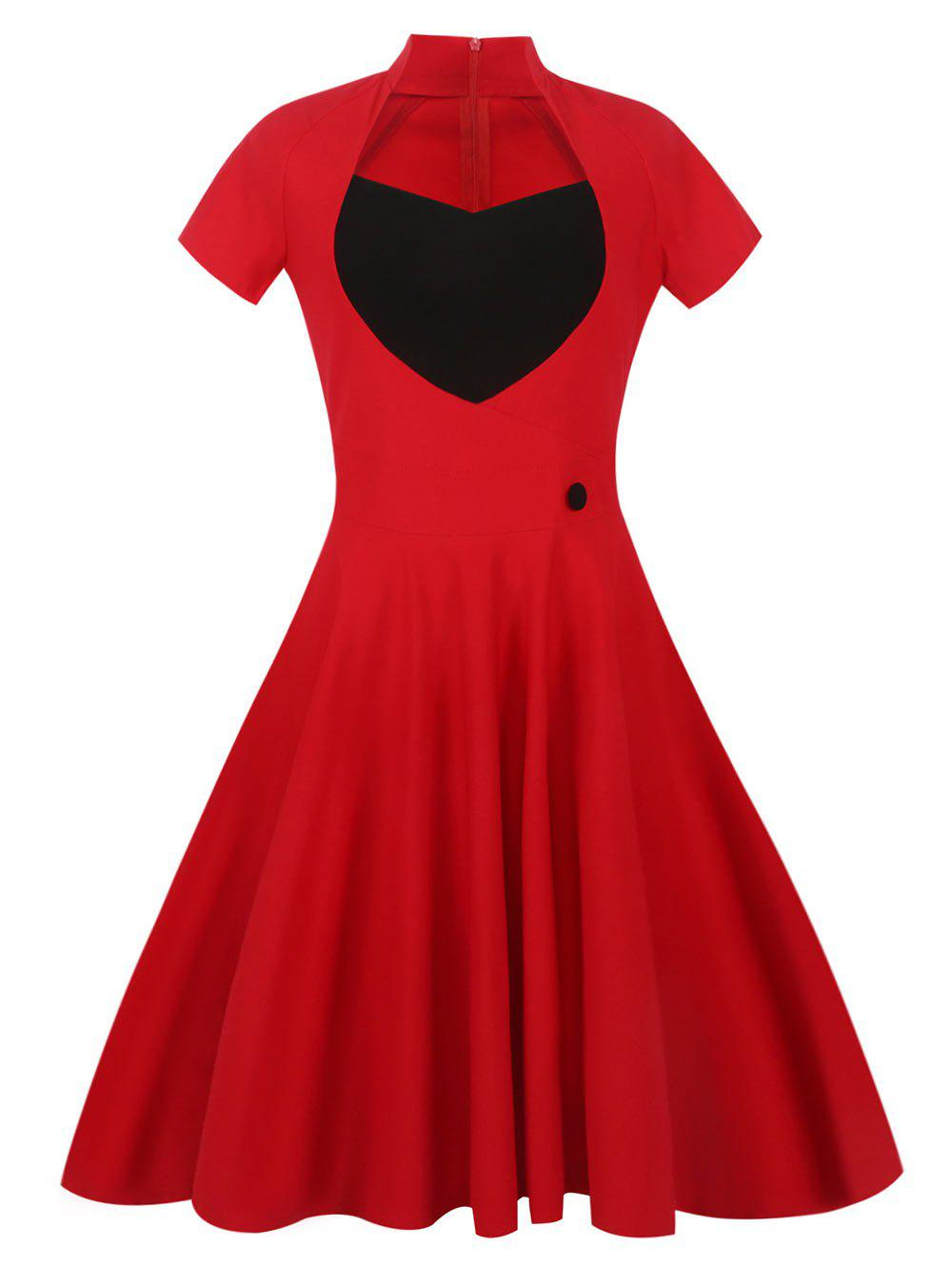 Sweetheart Front 50s Vintage Swing Dress - RED L
