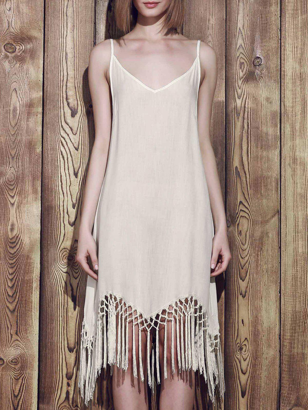 Tassels Flapper Summer Slip Dress - WHITE S