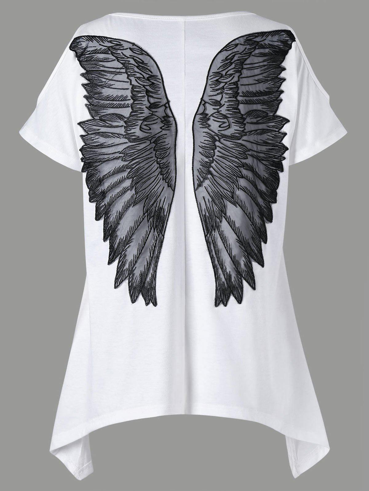 Appliqued Wings Cold Shoulder T-shirt