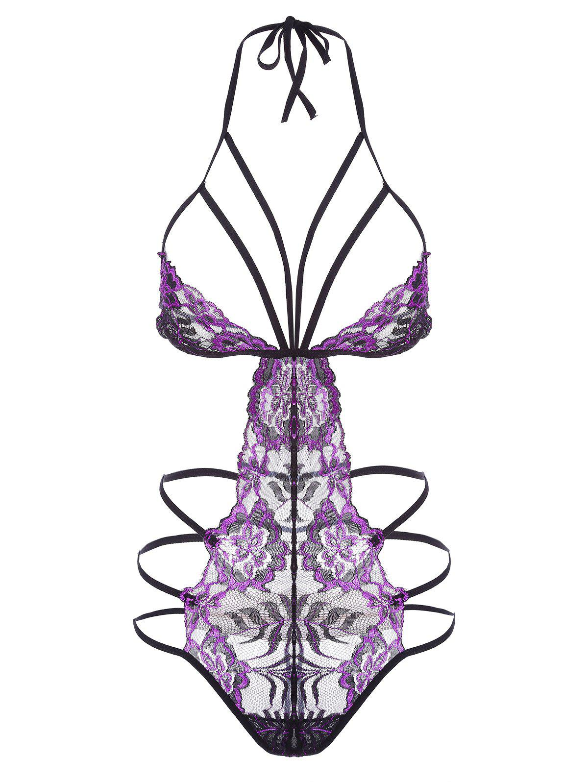 Lace Strappy Caged Lingerie Teddy - PURPLE S