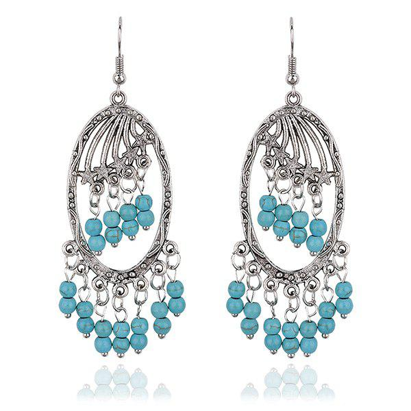 Chandelier Faux Turquoise Beaded Tassel Earrings - SILVER