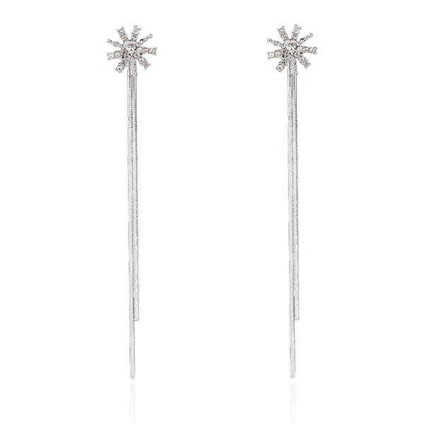 Rhinestone Fringed Chain Sun Earrings - SILVER