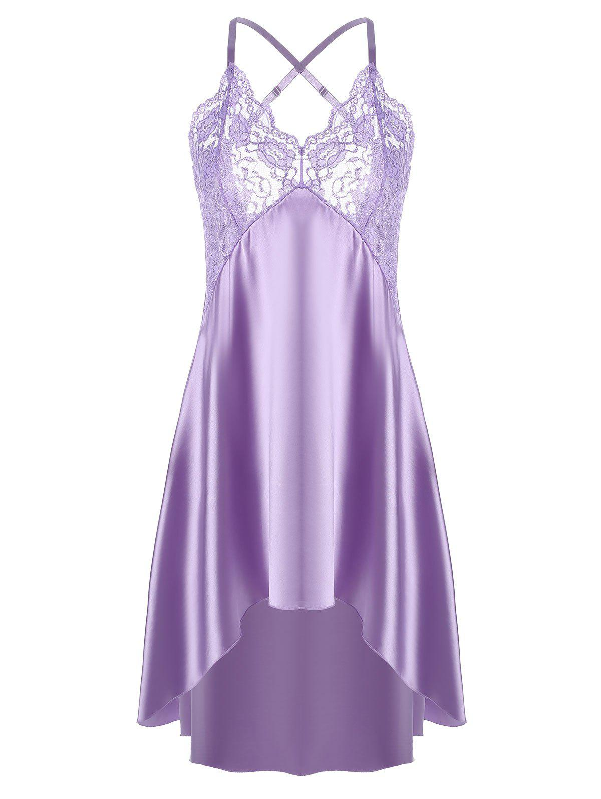 High Low Crossback Satin Slip - LIGHT PURPLE XL