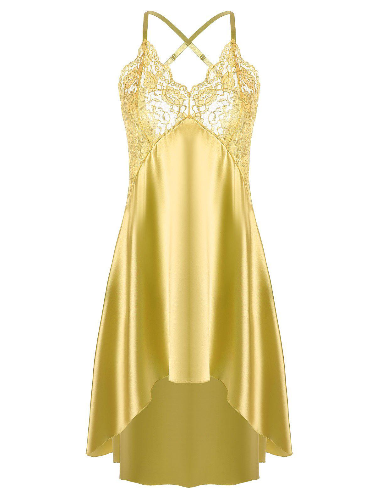 High Low Crossback Satin Slip - YELLOW XL