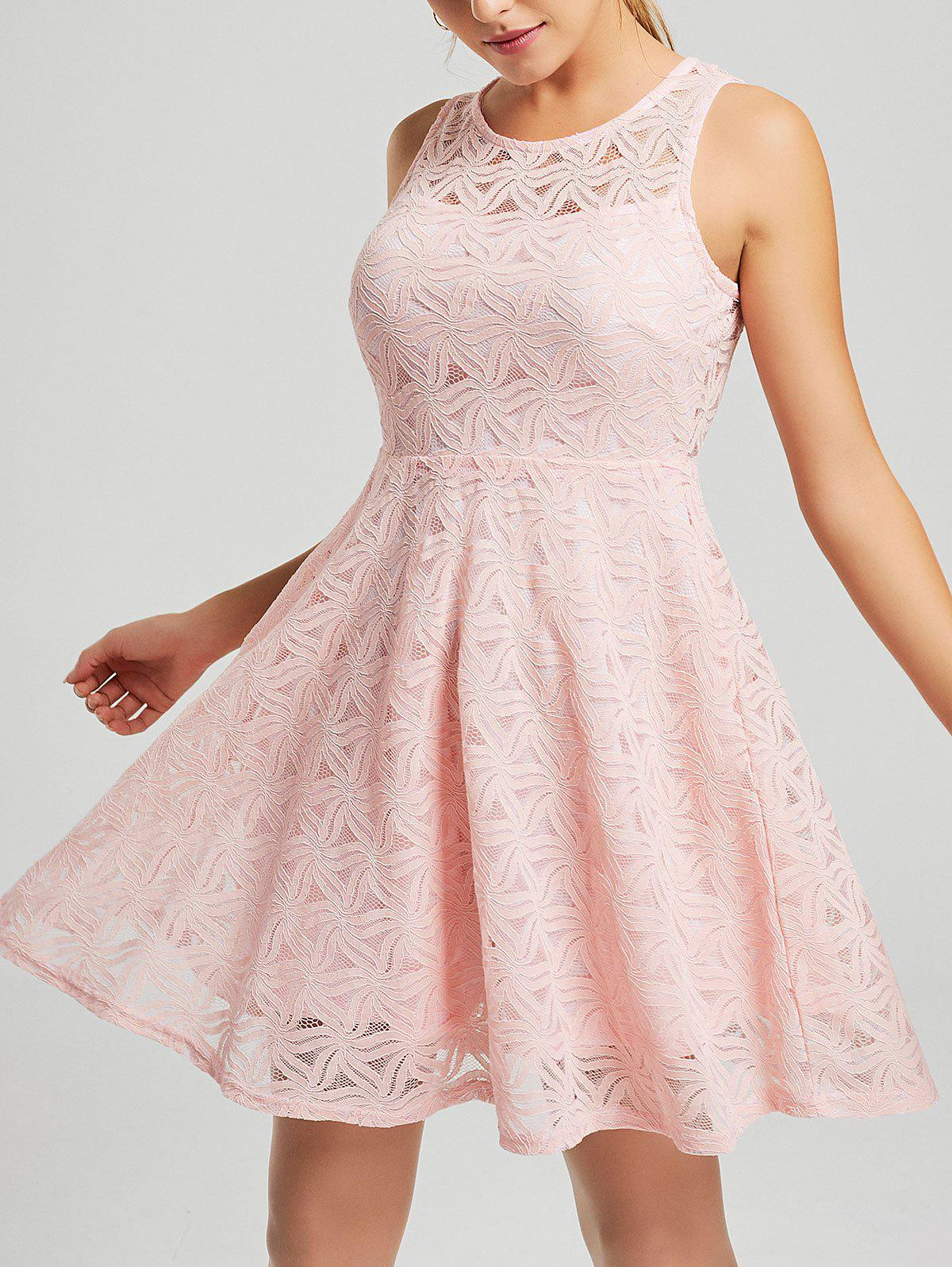 Sleeveless Lace Mini Cocktail Dress - PINK M