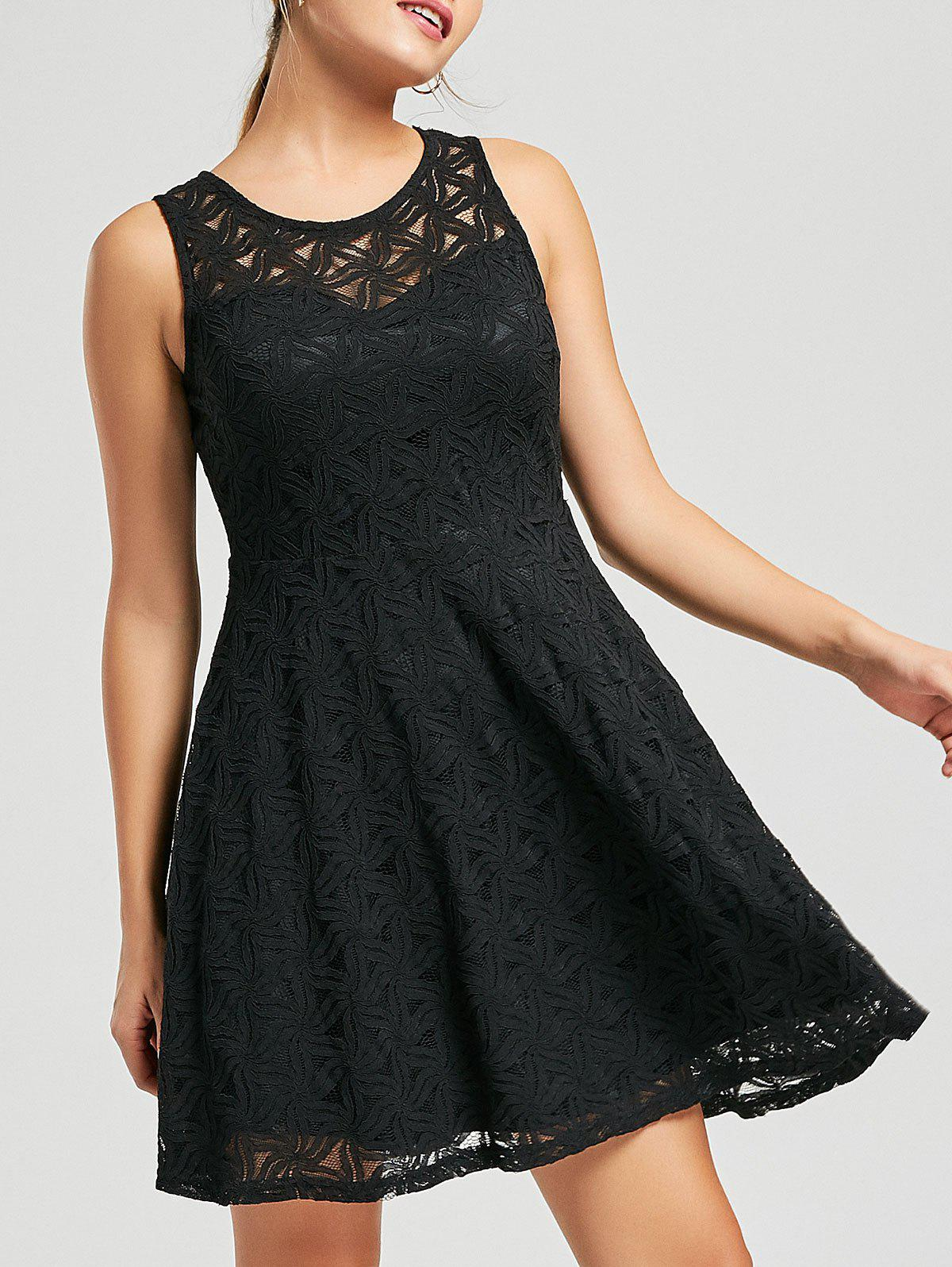 Sleeveless Lace Mini Cocktail Dress - BLACK L