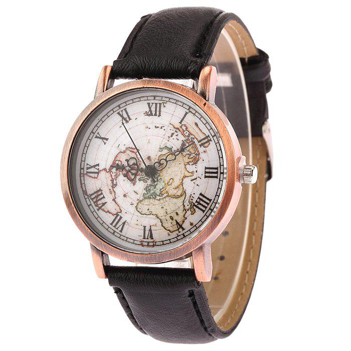 World Map Face Faux Leather Watch - Noir