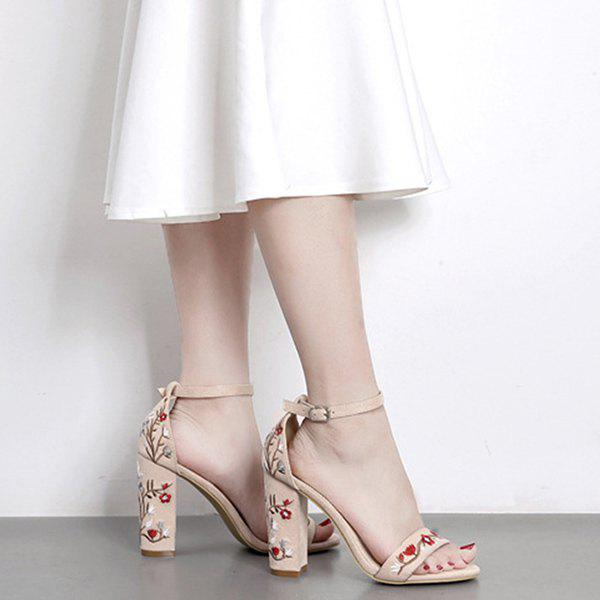Embroidey High Heel Sandals - APRICOT 38