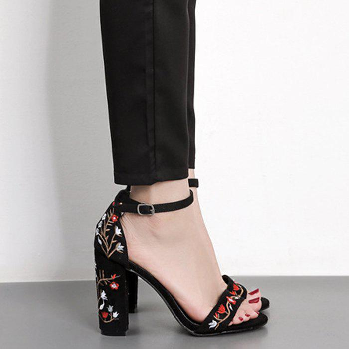 Embroidey High Heel Sandals - BLACK 38