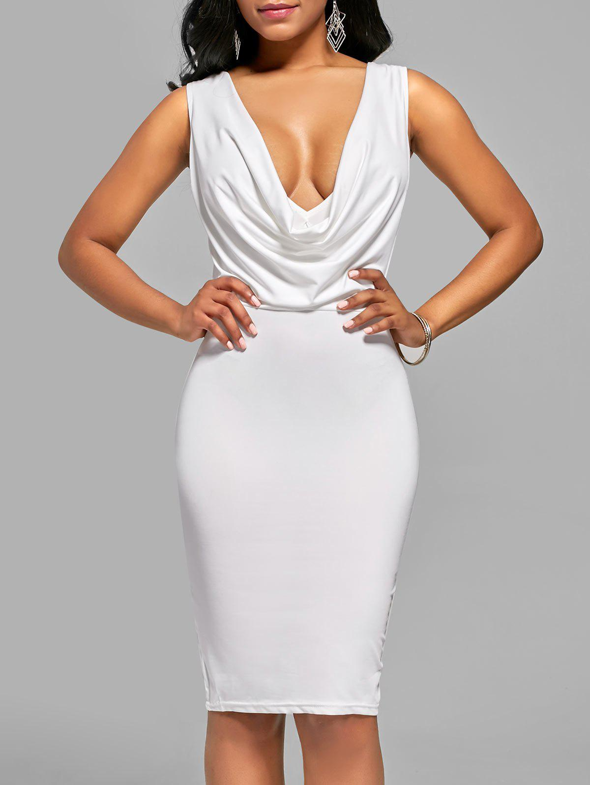 Plunging V Neck Drape Sleeveless Bodycon Dress - Blanc L