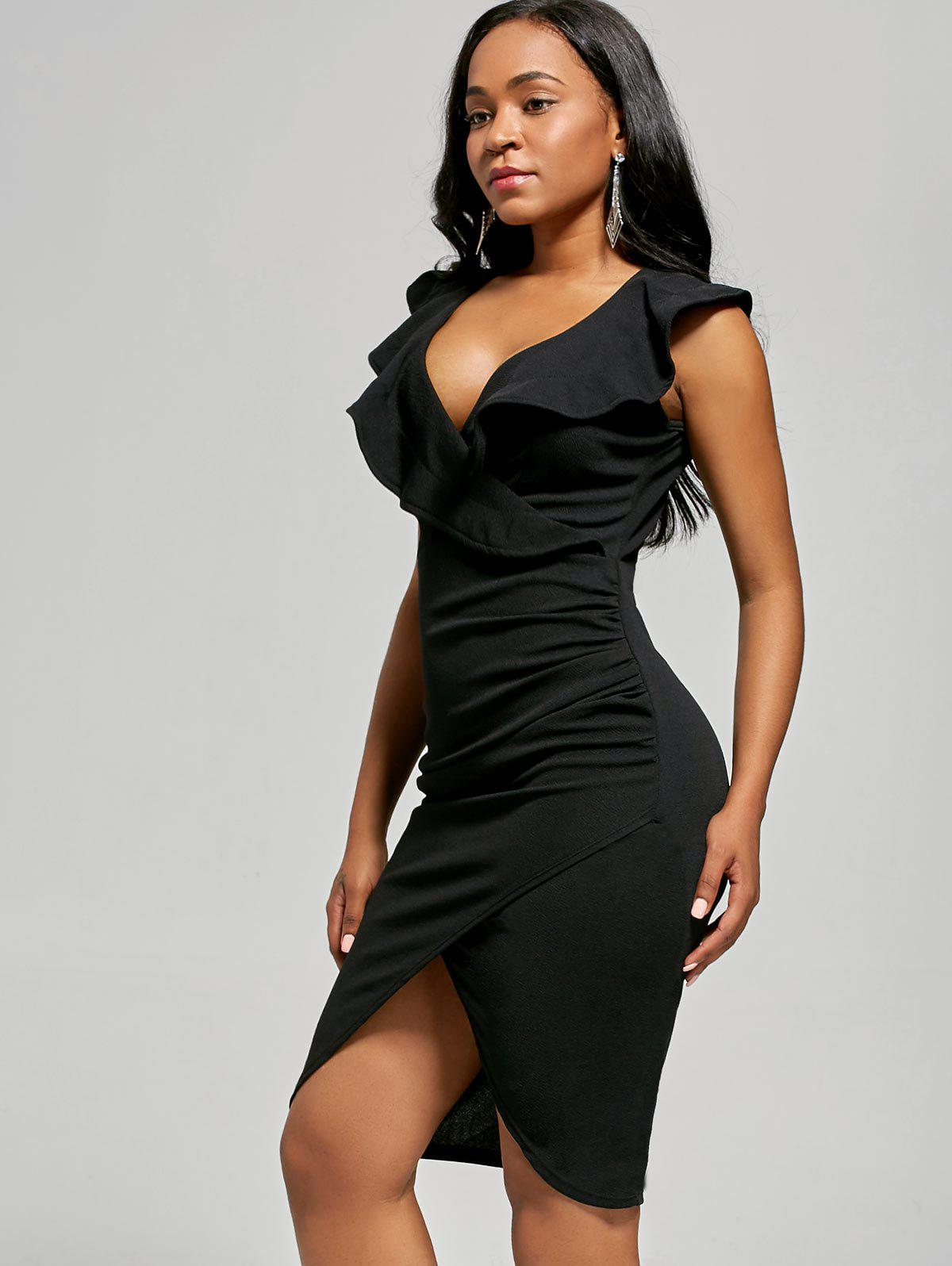 Robe Bodyung Ruffle Neck Plunging - Noir L