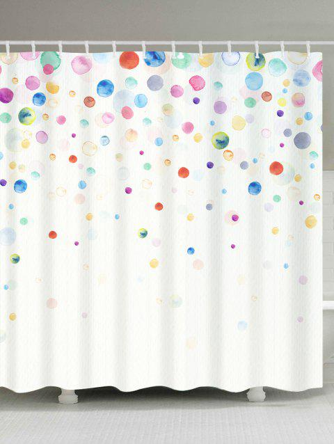 Waterproof Ink Painting Dotted Shower Curtain - COLORFUL W71 INCH * L79 INCH