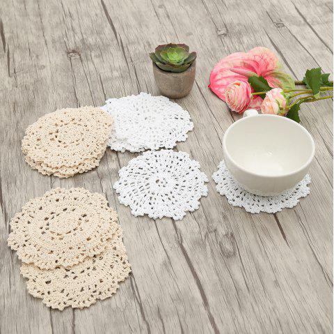 Round Shaped Handmade Floral Crochet Doilies - WHITE / BEIGE