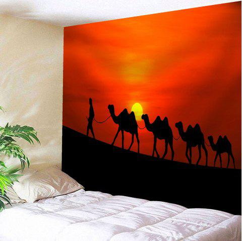 Sunset Camel Tapestry Microfiber Wall Hanging - RED W59 INCH * L59 INCH